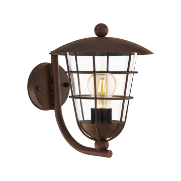 Настенный фонарь Eglo Pulfero 1 94854, IP44, 1xE27x60W, коричневый, прозрачный, металл, металл со стеклом/пластиком