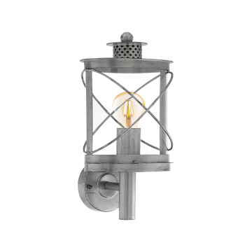 Настенный фонарь Eglo Hilburn 1 94865, IP44, 1xE27x60W, серебро, прозрачный, металл, металл с пластиком