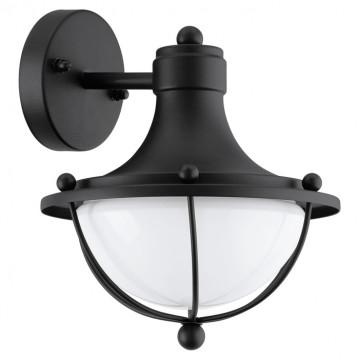 Настенный фонарь Eglo Monasterio 95976, IP44, 1xE27x60W, черный, белый, металл, стекло