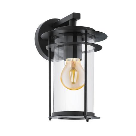 Настенный фонарь Eglo Valdeo 96239, IP44, 1xE27x60W, черный, прозрачный, металл, металл со стеклом