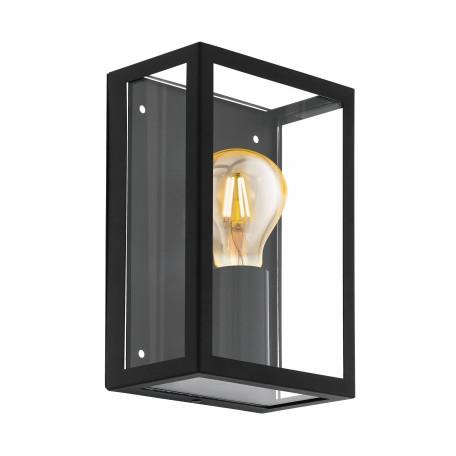 Настенный светильник Eglo Alamonte 1 94831, IP44, 1xE27x60W, прозрачный, черный, стекло, стекло с металлом