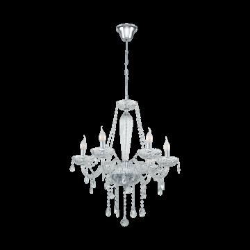 Подвесная люстра Eglo Basilano 1 39099, 6xE14x40W, прозрачный, хром, металл, стекло