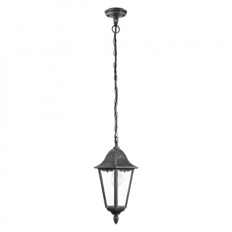 Подвесной светильник Eglo Navedo 93455, IP44, 1xE27x60W, черный с серебряной патиной, прозрачный, металл, металл со стеклом