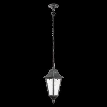 Подвесной светильник Eglo Navedo 93455, IP44, 1xE27x60W, черный с серебряной патиной, прозрачный, металл, металл со стеклом/пластиком