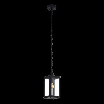 Подвесной светильник Eglo Alamonte 1 94788, IP44, 1xE27x60W, черный, прозрачный, металл, металл со стеклом/пластиком