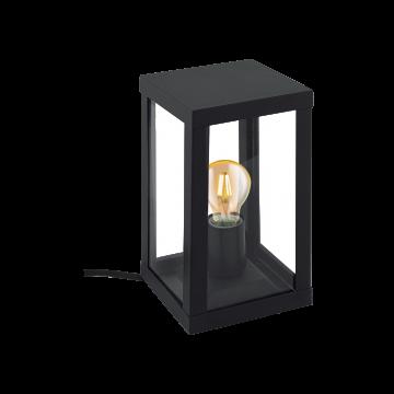 Садовый светильник Eglo Alamonte 1 94789, IP44, 1xE27x60W, прозрачный, черный, металл со стеклом/пластиком