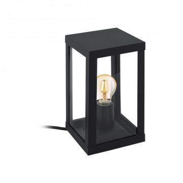 Садовый светильник Eglo Alamonte 1 94789, IP44, 1xE27x60W, прозрачный, черный, металл со стеклом