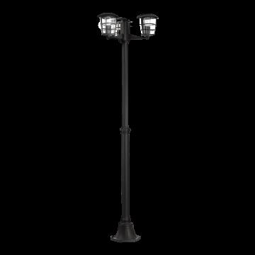 Уличный фонарь Eglo Aloria 93409, IP44, 3xE27x60W, черный, прозрачный, металл, металл со стеклом/пластиком