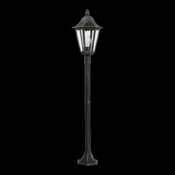 Уличный фонарь Eglo Navedo 93463, IP44, 1xE27x60W, черный с серебряной патиной, прозрачный, металл, металл со стеклом/пластиком