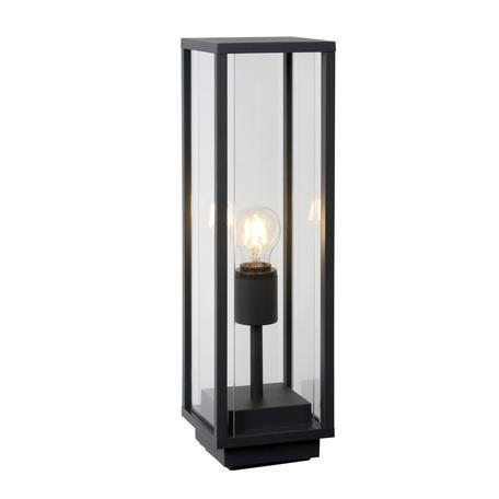 Садовый светильник Lucide Claire 27883/50/30, IP54, 1xE27x15W, черный, прозрачный, металл, стекло