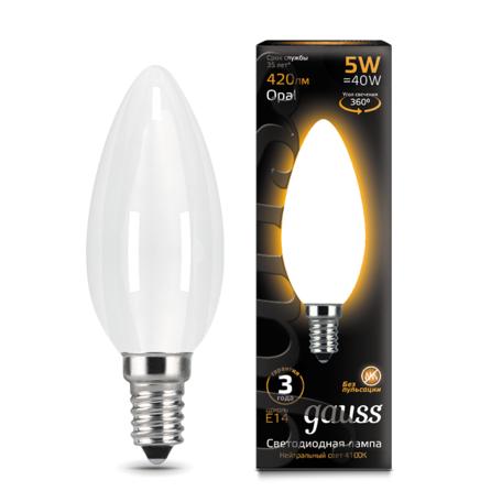 Филаментная светодиодная лампа Gauss 103201105 свеча E14 5W, 2700K (теплый) CRI>90 150-265V, гарантия 3 года