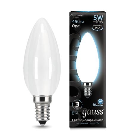 Филаментная светодиодная лампа Gauss 103201205 свеча E14 5W, 4100K (холодный) CRI>90 150-265V, гарантия 3 года