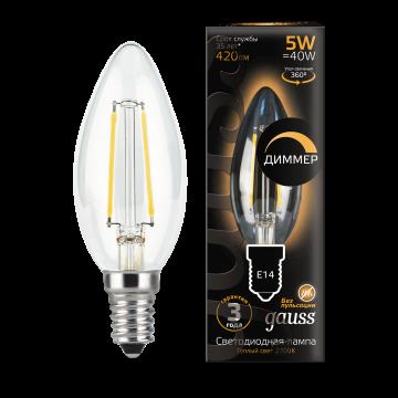 Филаментная светодиодная лампа Gauss 103801105-D свеча E14 5W, 2700K (теплый) CRI>90 185-265V, диммируемая, гарантия 3 года - миниатюра 2