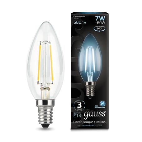 Филаментная светодиодная лампа Gauss 103801207 свеча E14 7W, 4100K (холодный) CRI>90 150-265V, гарантия 3 года