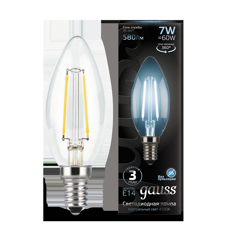Филаментная светодиодная лампа Gauss 103801207 свеча E14 7W, 4100K (холодный) CRI>90 150-265V, гарантия 3 года - фото 1