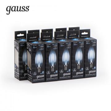 Филаментная светодиодная лампа Gauss 103801207 свеча E14 7W, 4100K (холодный) CRI>90 150-265V, гарантия 3 года - миниатюра 3