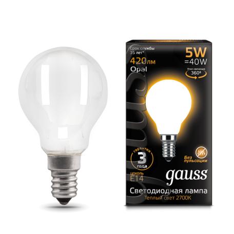 Филаментная светодиодная лампа Gauss 105201105 шар E14 5W, 2700K (теплый) CRI>90 150-265V, гарантия 3 года