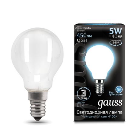Филаментная светодиодная лампа Gauss 105201205 шар E14 5W, 4100K (холодный) CRI>90 150-265V, гарантия 3 года