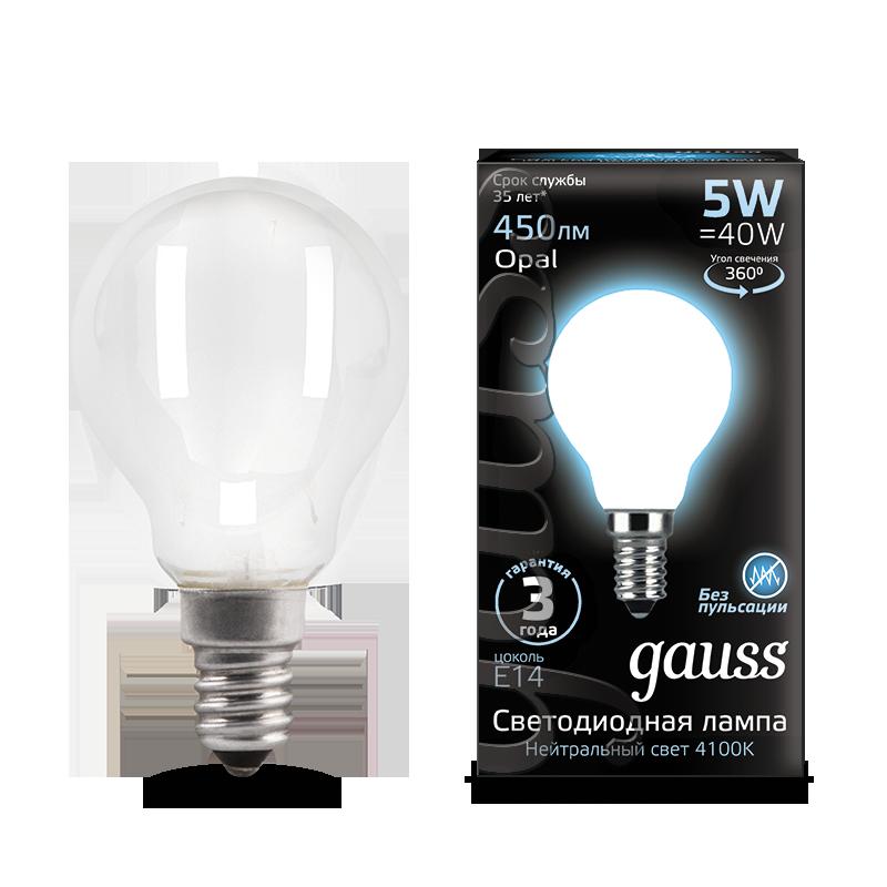 Филаментная светодиодная лампа Gauss 105201205 шар малый E14 5W, 4100K (холодный) CRI>90 150-265V, гарантия 3 года - фото 1