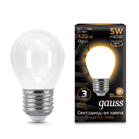 Филаментная светодиодная лампа Gauss 105202105 шар E27 5W, 2700K (теплый) CRI>90 150-265V, гарантия 3 года