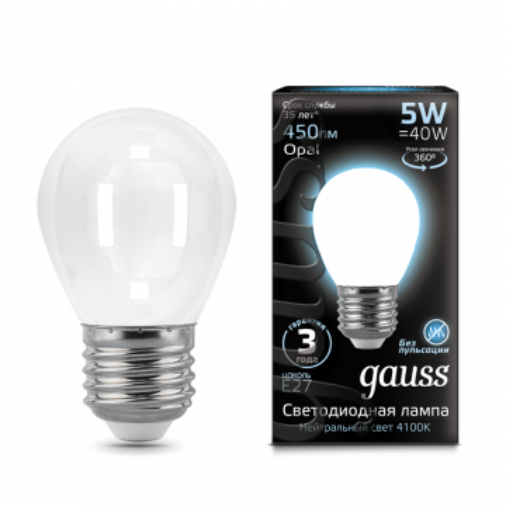 Филаментная светодиодная лампа Gauss 105202205 шар E27 5W, 4100K (холодный) CRI>90 150-265V, гарантия 3 года