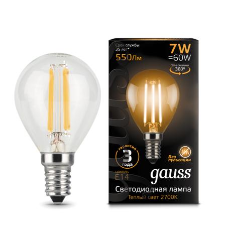 Филаментная светодиодная лампа Gauss 105801107 шар E14 7W, 2700K (теплый) CRI>90 150-265V, гарантия 3 года