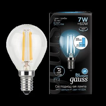 Филаментная светодиодная лампа Gauss 105801207 шар E14 7W, 4100K (холодный) CRI>90 150-265V, гарантия 3 года - миниатюра 2