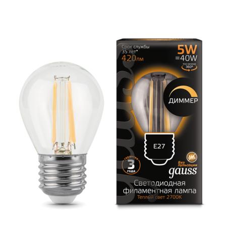 Филаментная светодиодная лампа Gauss 105802105-D шар E27 5W, 2700K (теплый) CRI>90 185-265V, диммируемая, гарантия 3 года