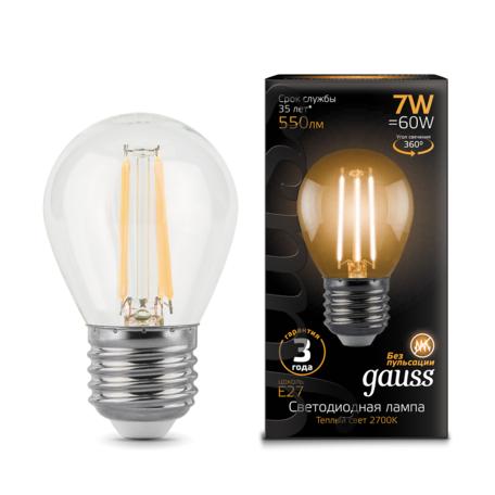 Филаментная светодиодная лампа Gauss 105802107 шар E27 7W, 2700K (теплый) CRI>90 150-265V, гарантия 3 года