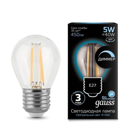 Филаментная светодиодная лампа Gauss 105802205-D шар E27 5W, 4100K (холодный) CRI>90 185-265V, диммируемая, гарантия 3 года