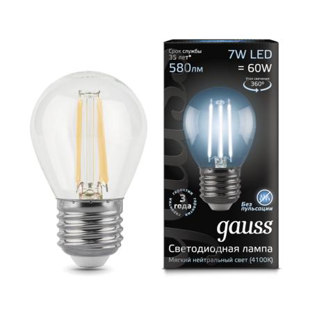 Филаментная светодиодная лампа Gauss 105802207 шар E27 7W, 4100K (холодный) CRI>90 150-265V, гарантия 3 года