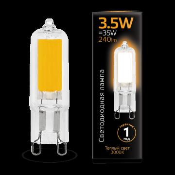 Филаментная светодиодная лампа Gauss 107809103 капсульная G9 3,5W, 3000K (теплый) CRI>90 220-240V, гарантия 1 год