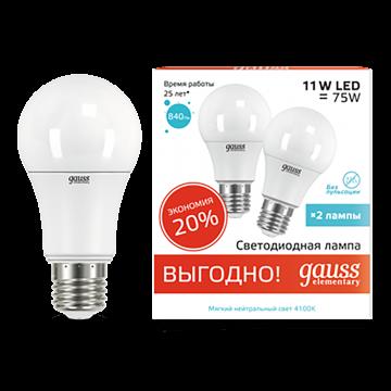 Светодиодная лампа Gauss Elementary 23221P груша E27 11W, 4100K (холодный) 180-240V, гарантия 2 года - миниатюра 2