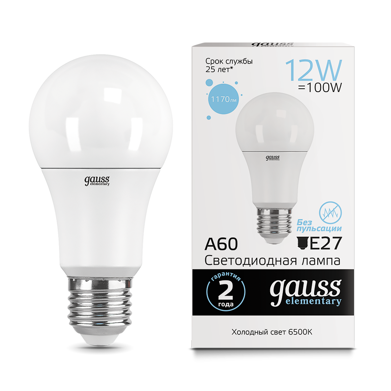 Светодиодная лампа Gauss Elementary 23232 груша E27 12W, 6500K (холодный) CRI>80 180-240V, гарантия 2 года - фото 1