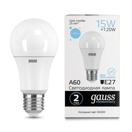 Светодиодная лампа Gauss Elementary 23235 груша E27 15W, 6500K (холодный) CRI>80 180-240V, гарантия 2 года