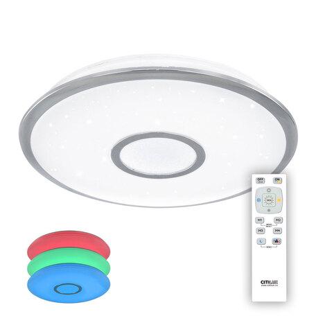 Потолочный светодиодный светильник с пультом ДУ Citilux Старлайт CL70340RGB, IP44 3000-4500K/RGB, белый, хром, металл, пластик