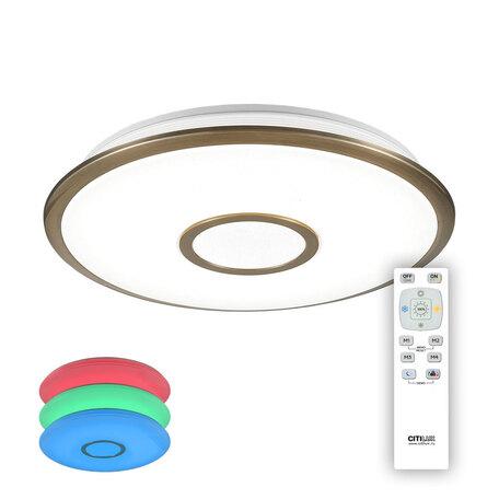 Потолочный светодиодный светильник с пультом ДУ Citilux Старлайт CL70343RGB, IP44, LED 40W 3000-4500K + RGB 2600lm, белый, бронза, металл, металл с пластиком
