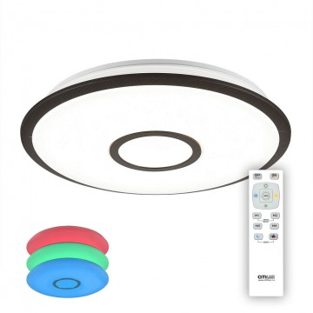 Потолочный светодиодный светильник с пультом ДУ Citilux Старлайт CL70345RGB, IP44, LED 40W 3000-4500K + RGB 2600lm, белый, венге, металл, металл с пластиком