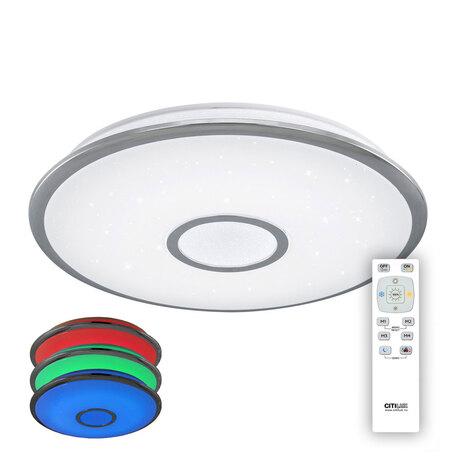 Потолочный светодиодный светильник с пультом ДУ Citilux Старлайт CL70360RGB, IP44, LED 60W 3000-4500K + RGB 4000lm, белый, хром, металл, металл с пластиком