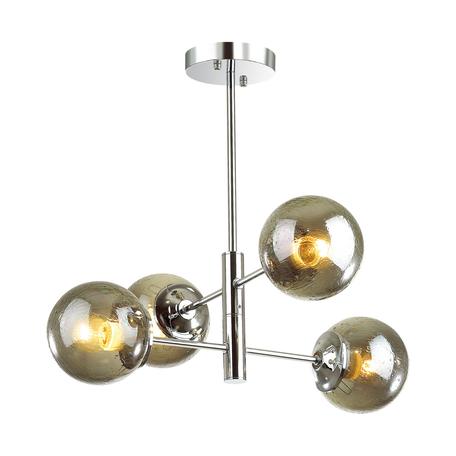 Потолочная люстра Lumion Moderni Hugo 4493/4C, 4xE27x60W, хром, дымчатый, металл, стекло