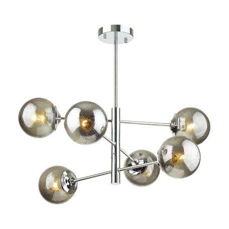 Потолочная люстра Lumion Moderni Hugo 4493/6C, 6xE27x60W, хром, дымчатый, металл, стекло