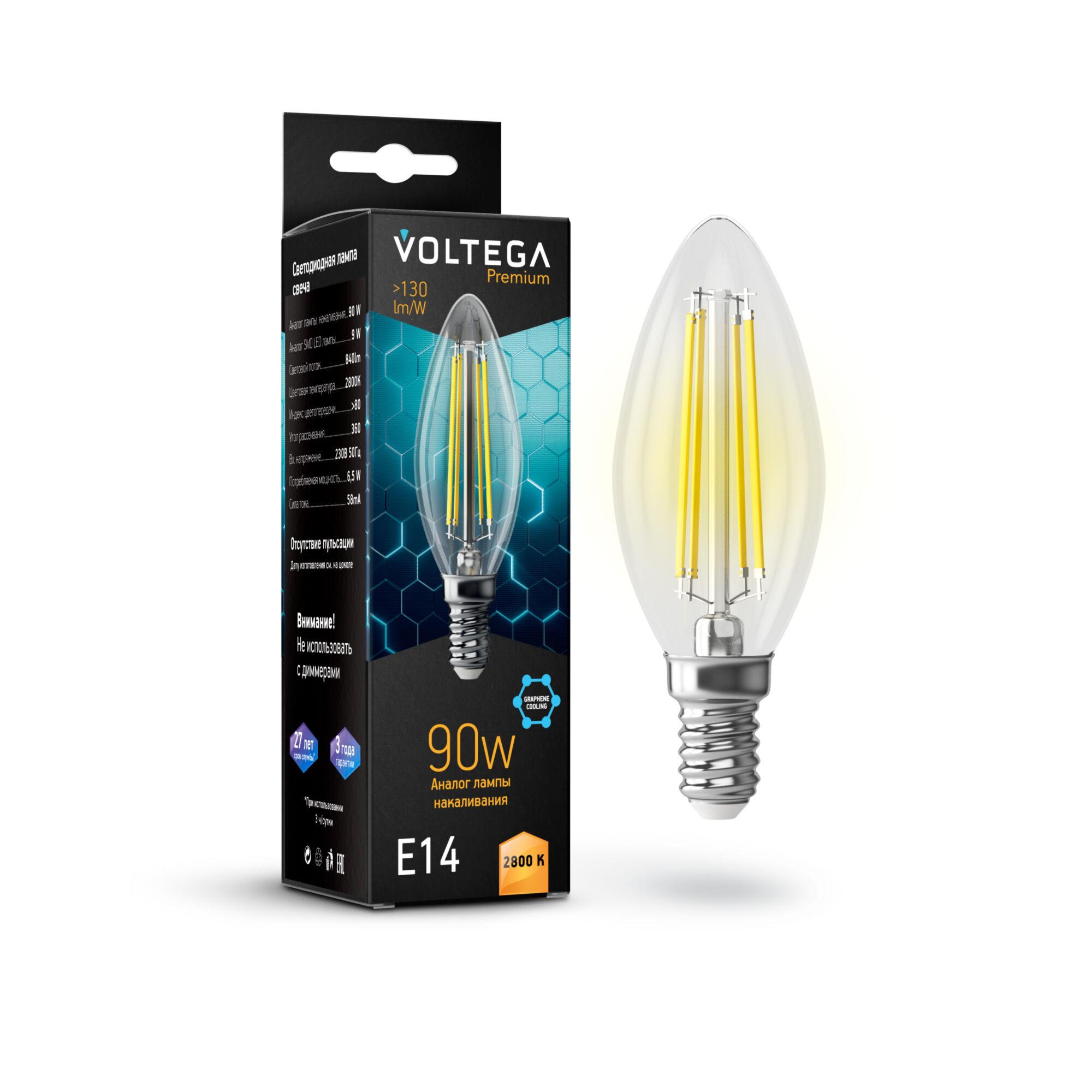 Филаментная светодиодная лампа Voltega Crystal 7134 свеча E14 6,5W, 2800K (теплый) 220V, гарантия 3 года - фото 1