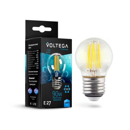 Филаментная светодиодная лампа Voltega Crystal 7139 шар E27 6,5W, 4000K (дневной) 220V, гарантия 3 года