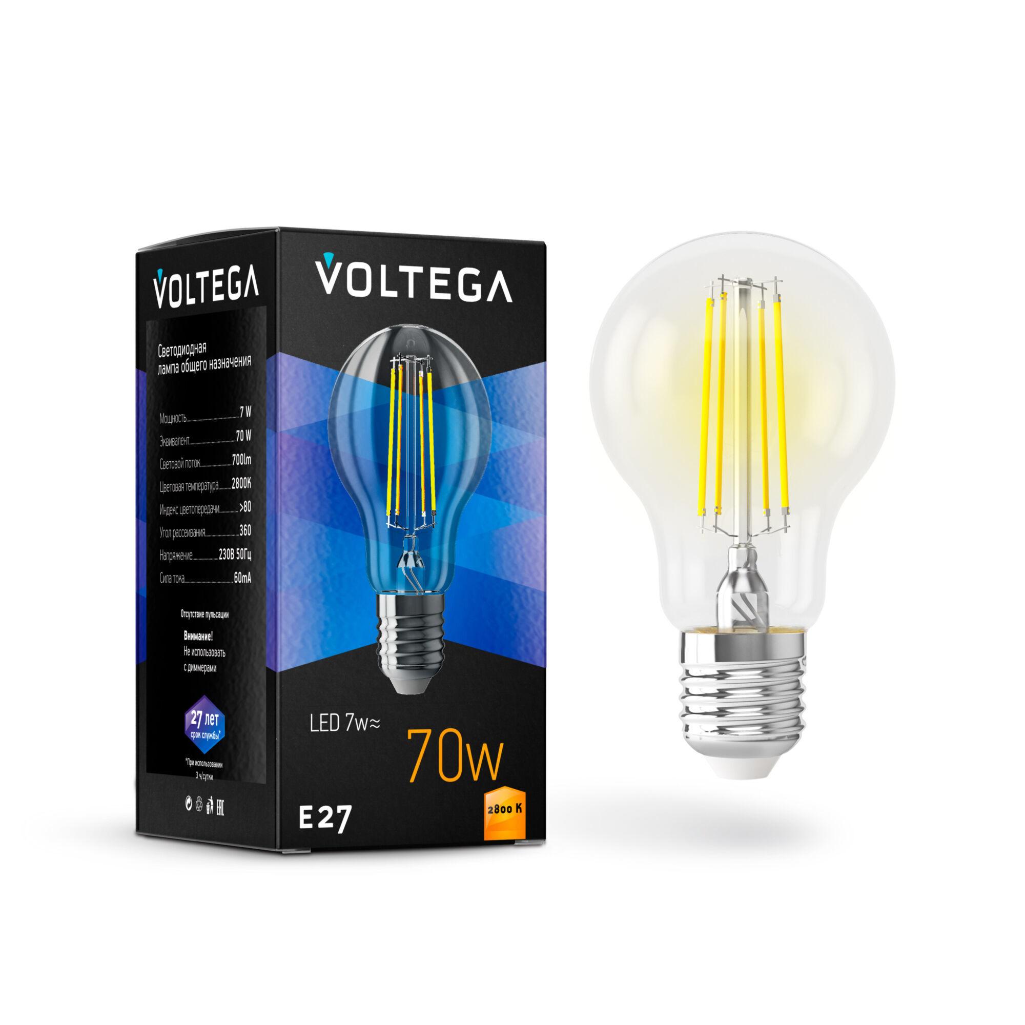 Филаментная светодиодная лампа Voltega Crystal 7140 груша E27 7W, 2800K (теплый) 220V, гарантия 3 года - фото 2