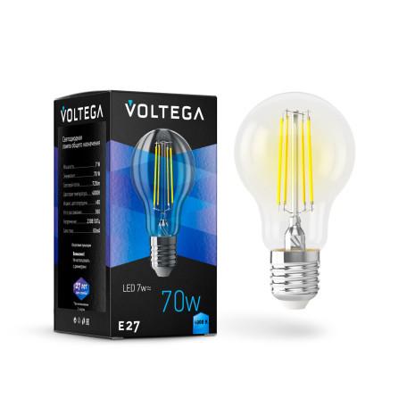 Филаментная светодиодная лампа Voltega Crystal 7141 груша E27 7W, 4000K 220V, гарантия 3 года