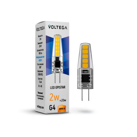 Светодиодная лампа Voltega Simple 7144 капсульная G4 2W, 2800K (теплый) 220V, гарантия 2 года