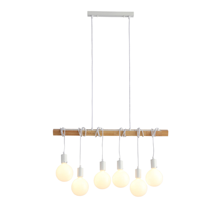 Подвесной светильник Evoluce Bagetti SL1142.503.06, 6xE27x60W, белый, коричневый, дерево