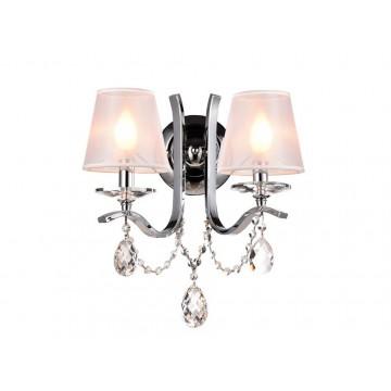 Бра Newport 33002/A (М0049503), 2xE14x60W, хром, белый, прозрачный, металл со стеклом, текстиль, стекло