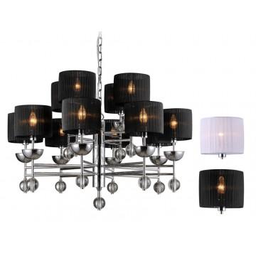 Основание подвесной люстры Newport 32008+4/C без абажуров (М0048111), 12xE14x60W, хром, металл со стеклом