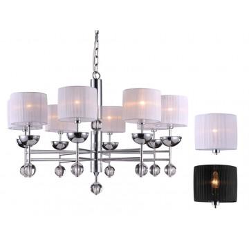 Основание подвесной люстры Newport 32000 32008/C без абажуров (М0048110), 8xE14x60W, прозрачный, хром, металл, стекло